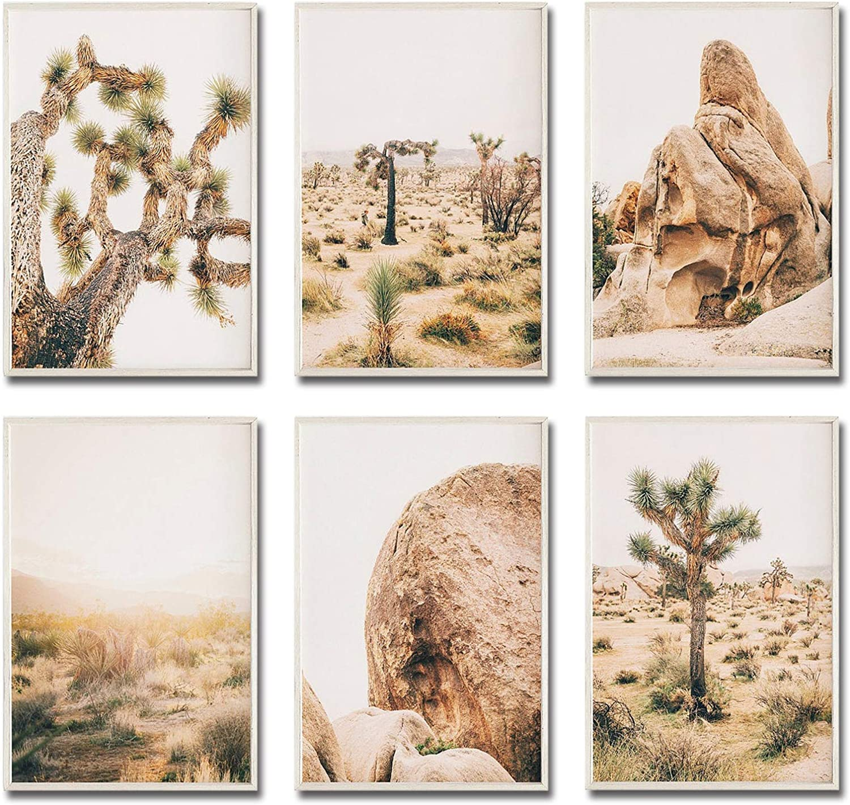 "iMagitek Set of 6 Unframed Desert Wall Art Print, Joshua Tree Wall Art, Southwestern Decor Arizona Desert Cactus Wall Art Print (8"" x 10"")"