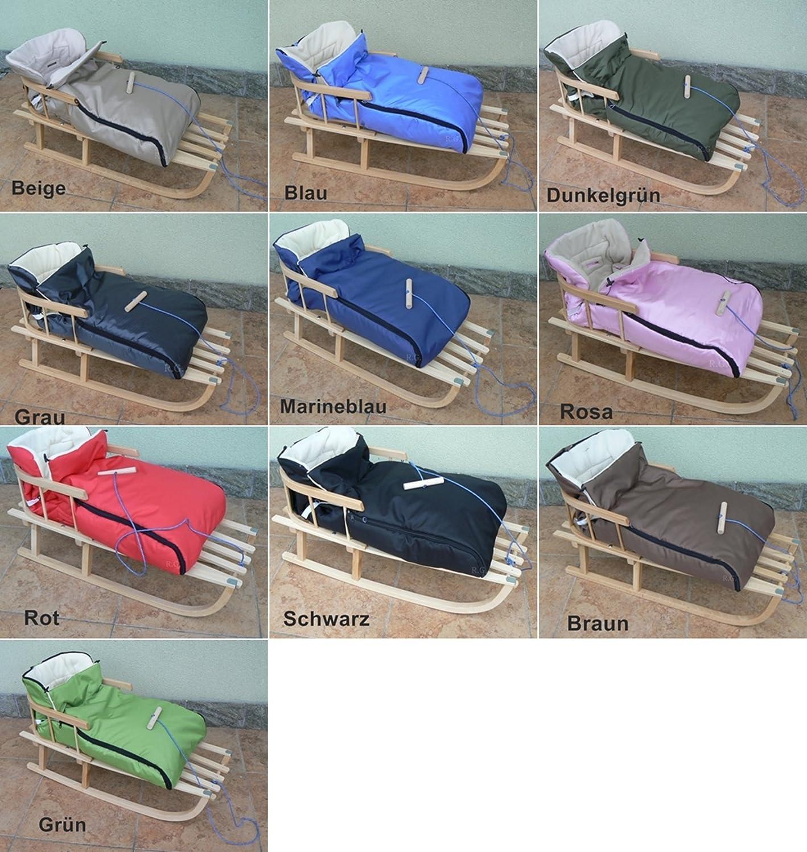 Holzschlitten mit Rückenlehne mit Winterfußsack 90cm 10 Farben Schlitten aus Holz (Blau)