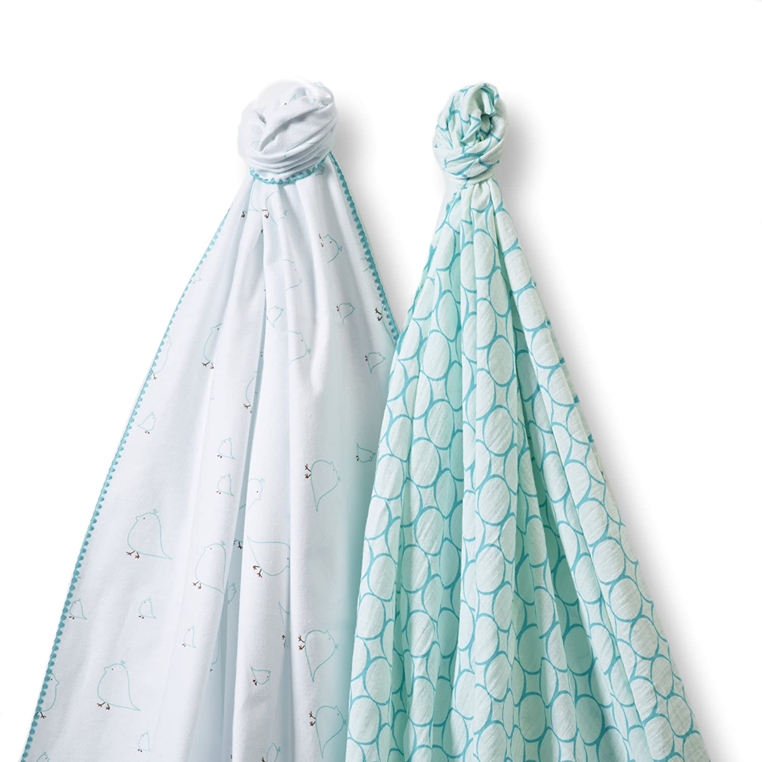 Premium Cotton Flannel SwaddleDesigns SwaddleDuo Turquoise Mama and Baby Chickies Duo Set of 2 Swaddling Blankets Cotton Marquisette