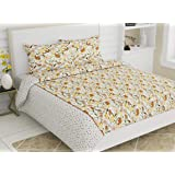 haus & kinder Tulips of Amsterdam, 100% Cotton Double Bedsheet with 2 Pillow Covers, 186 Thread Count (Yellow)