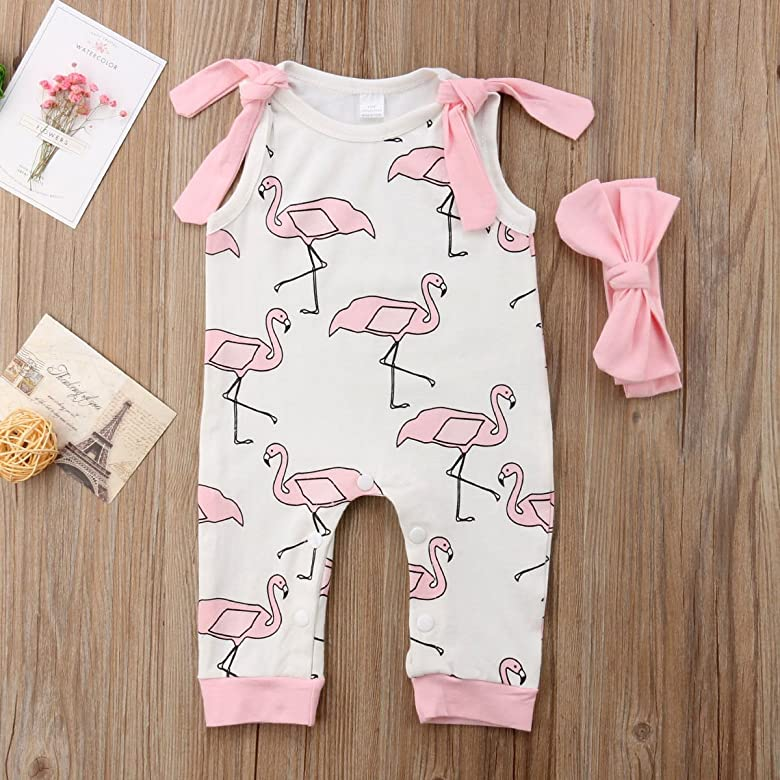 Walsoner Toddler Infant Baby Girls Summer Sleeveless Feather Patterns Romper Sling Jumpsuit Outfit