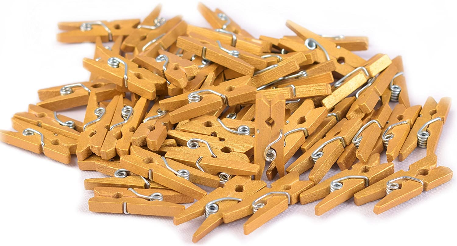 100-Pack of 1.0 inch (25mm) Mini Clothespins Gold. Mini Natural Wooden Gold Painted Clothespins for Home School Arts Crafts Decor DIY Screen, Tiny Clothes pins Photo Paper Peg Pin Craft Clips (Gold) Maks Guzz