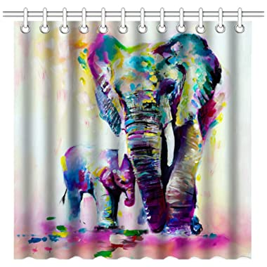 Wknoon 72 x 72 Inch Shower Curtain, Vintage Abstract Colorful Indian Elephants Family Oil Paintings Art, Waterproof Polyester Fabric Decorative Bath Curtains