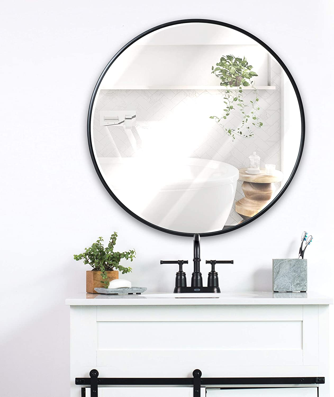 Black Round Wall Mirror - 24 Inch Large Round Mirror, Rustic Accent Mirror For Bathroom, Entry, Dining Room, & Living Room. Metal Black Round Mirror For Wall, Vanity Mirror Large Circle Wall Mirror: Home & Kitchen