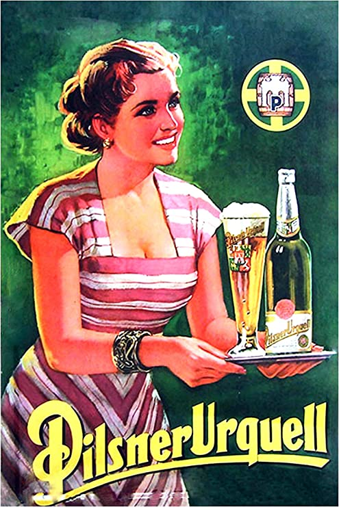 Pilsner Urquell Beer Lager Advert Vintage Retro Style Metal Sign bar pub mancave