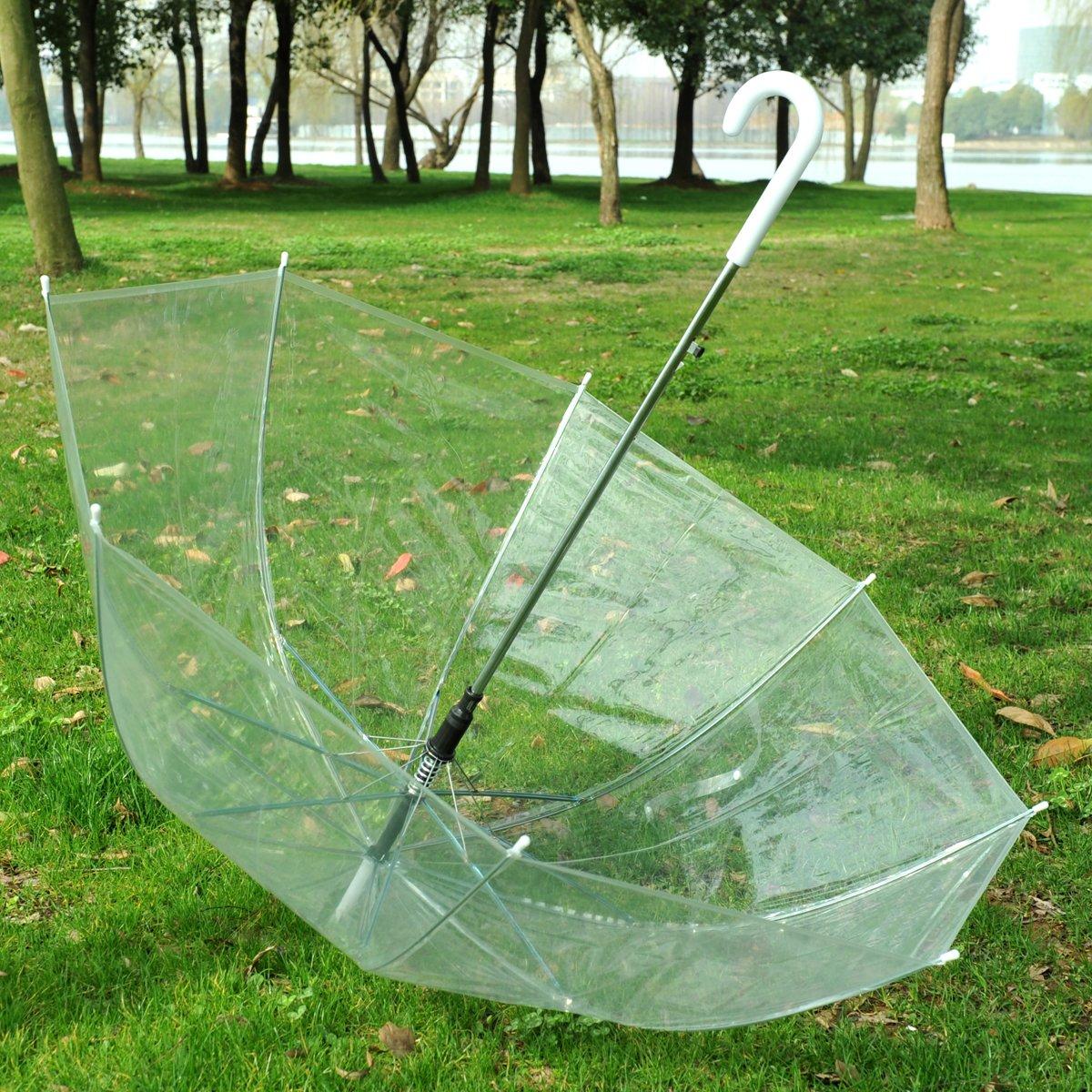 Topwedding Remedios Transparente Burbuja Transparente cúpula de Apertura automática Lluvia Paraguas decoración: Amazon.es: Jardín