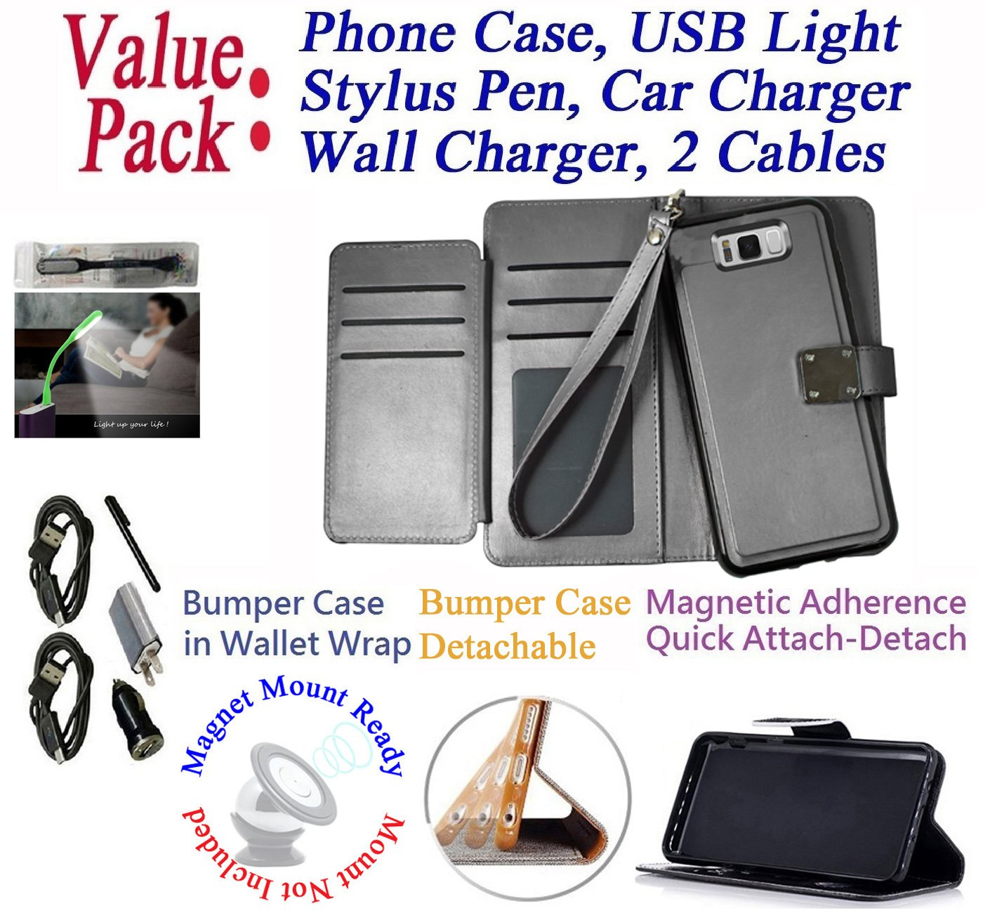 Value Pack + for 6.2'' Samsung Galaxy S8 + PLUS Case Wallet Phone Case Tortilla Cover Detachable Bumper Mag Mount Ready Extra Pocket Purse (Black)