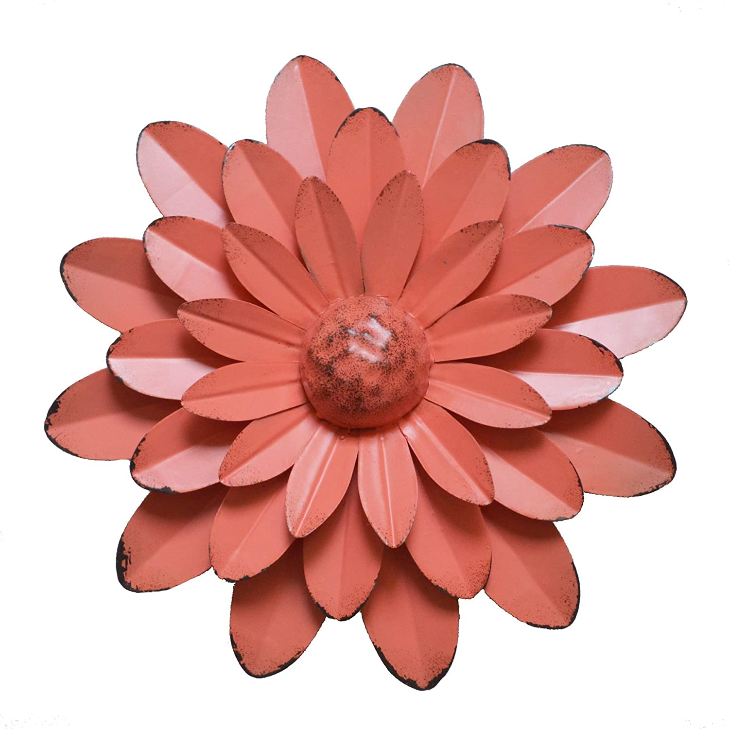 GIFTME 5 Coral Orange Multiple Layer Flower Metal Wall Art Decor(10X2 inch)