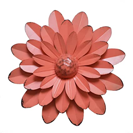 Amazon.com: GIFTME 5 Coral Orange Multiple Layer Flower Metal Wall ...