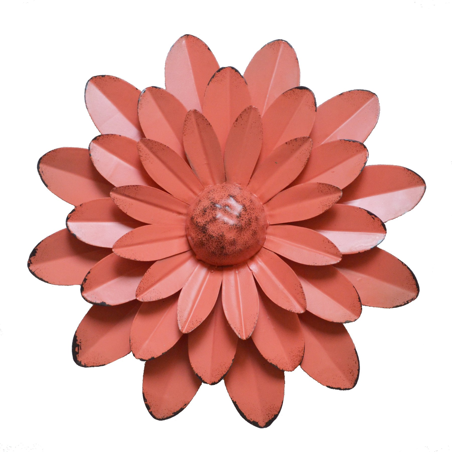 GIFTME 5 Coral Orange Multiple Layer Flower Metal Wall Art Décor(10X2 inch)