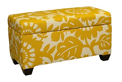 Superbe Skyline Furniture Walnut Hill Storage Bench In Gerber Sungold Fabric
