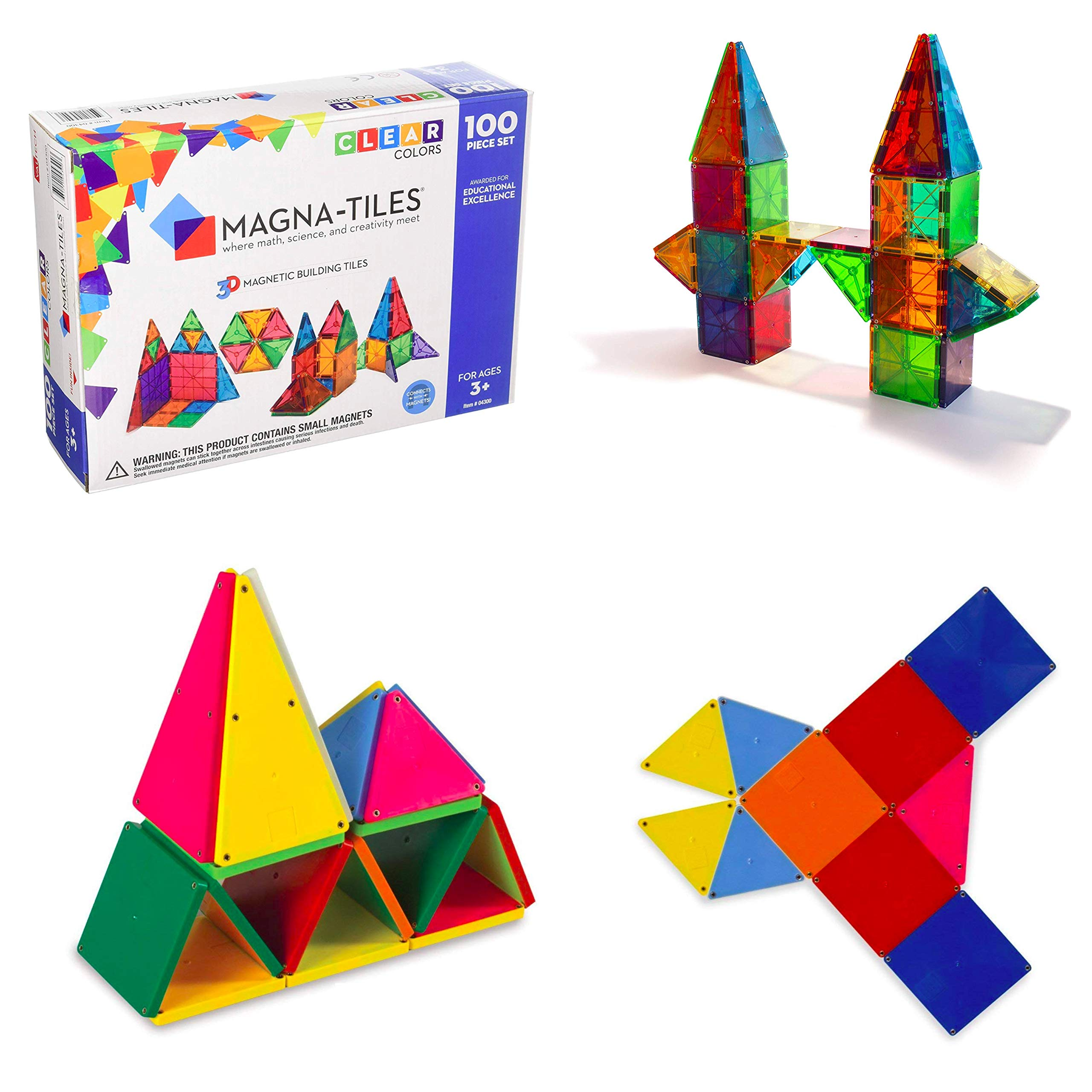 Magna-Tiles 100-Piece Clear Colors Set - The Original, Award-Winning Magnetic Building Tiles - Creativity and Educational - STEM Approved Bundled 02300 Solid Colors 100 Piece Set by Magna-Tiles (Image #9)