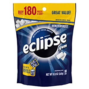 Eclipse Winterfrost Sugar Free Chewing Gum, 180 Piece Bag
