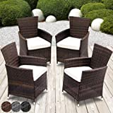 Miadomodo 4pcs Garden Furniture Set with Rattan Chairs and Cushions (Brown)