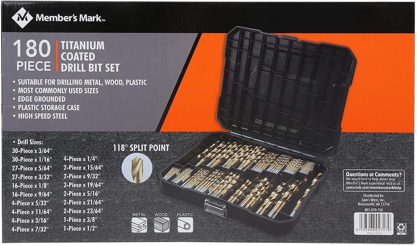 Members Mark 230-Piece Titanium Coated Drill Bit Set