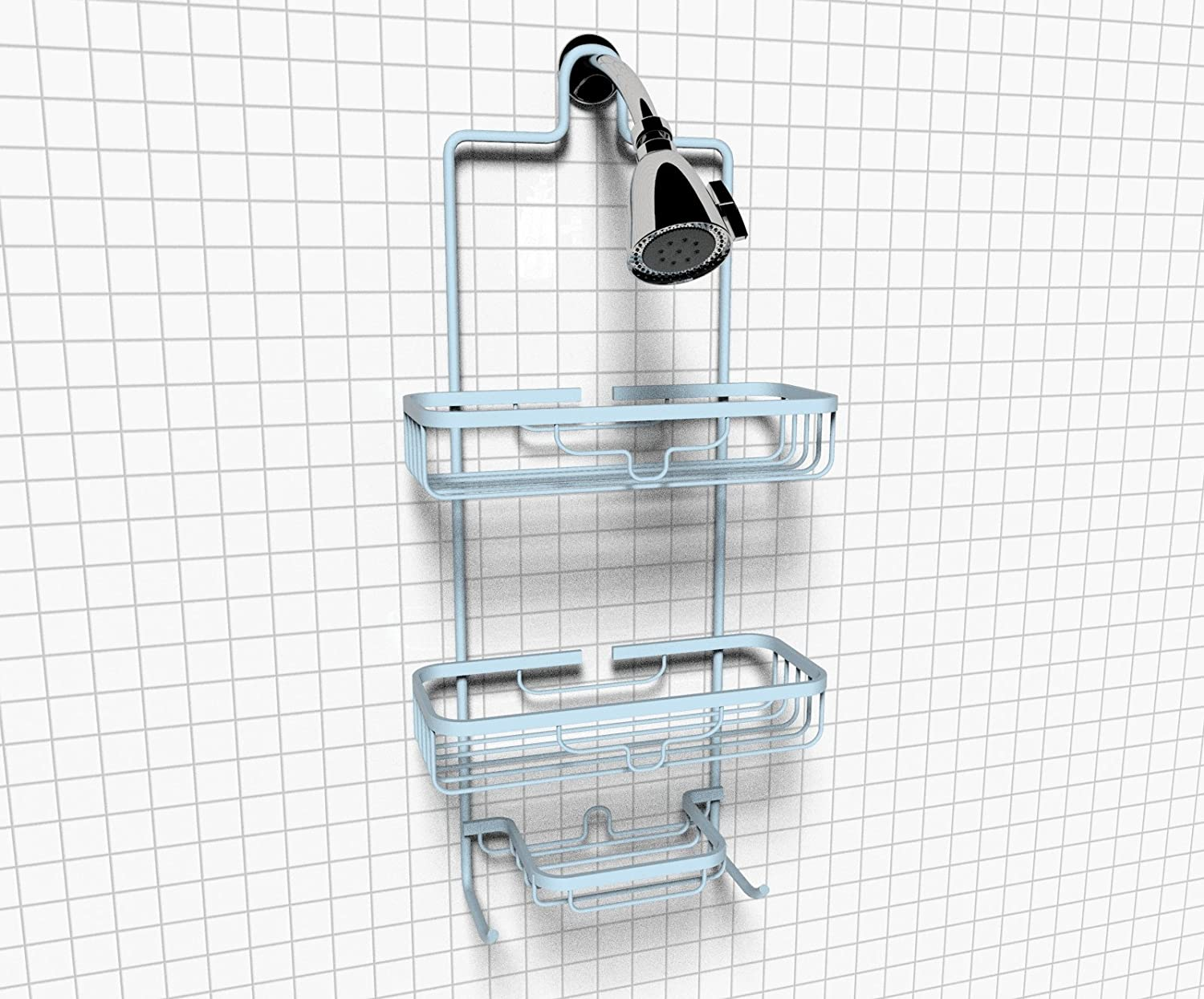 RUST-PROOF Aluminum Shower Caddy in Glacier Blue - Mercer 3-Tiered ...