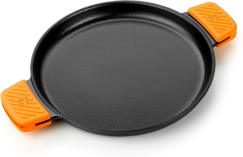 BRA Efficient Iron - Parrilla redonda lisa 32 cm, fabricada en hierro fundido esmaltado. Apta para su uso en horno y todo tipo de cocinas, incluída inducción. Apta para el lavavajillas.