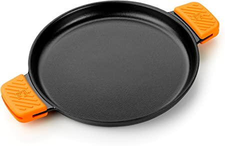 BRA Efficient Iron - Parrilla redonda lisa 32 cm, fabricada en hierro fundido esmaltado. Apta para su uso en horno y todo tipo de cocinas, incluída inducción. Apta para el lavavajillas.: Amazon.es: