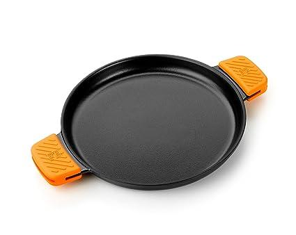 BRA Efficient Iron - Parrilla redonda lisa 32 cm, fabricada en hierro fundido esmaltado. Apta para su uso en horno y todo tipo de cocinas, incluída ...