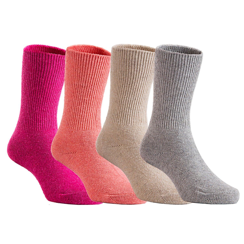 Lian LifeStyle Children 4 Pairs Pack Wool Socks Plain Color Orange Beige Grey)