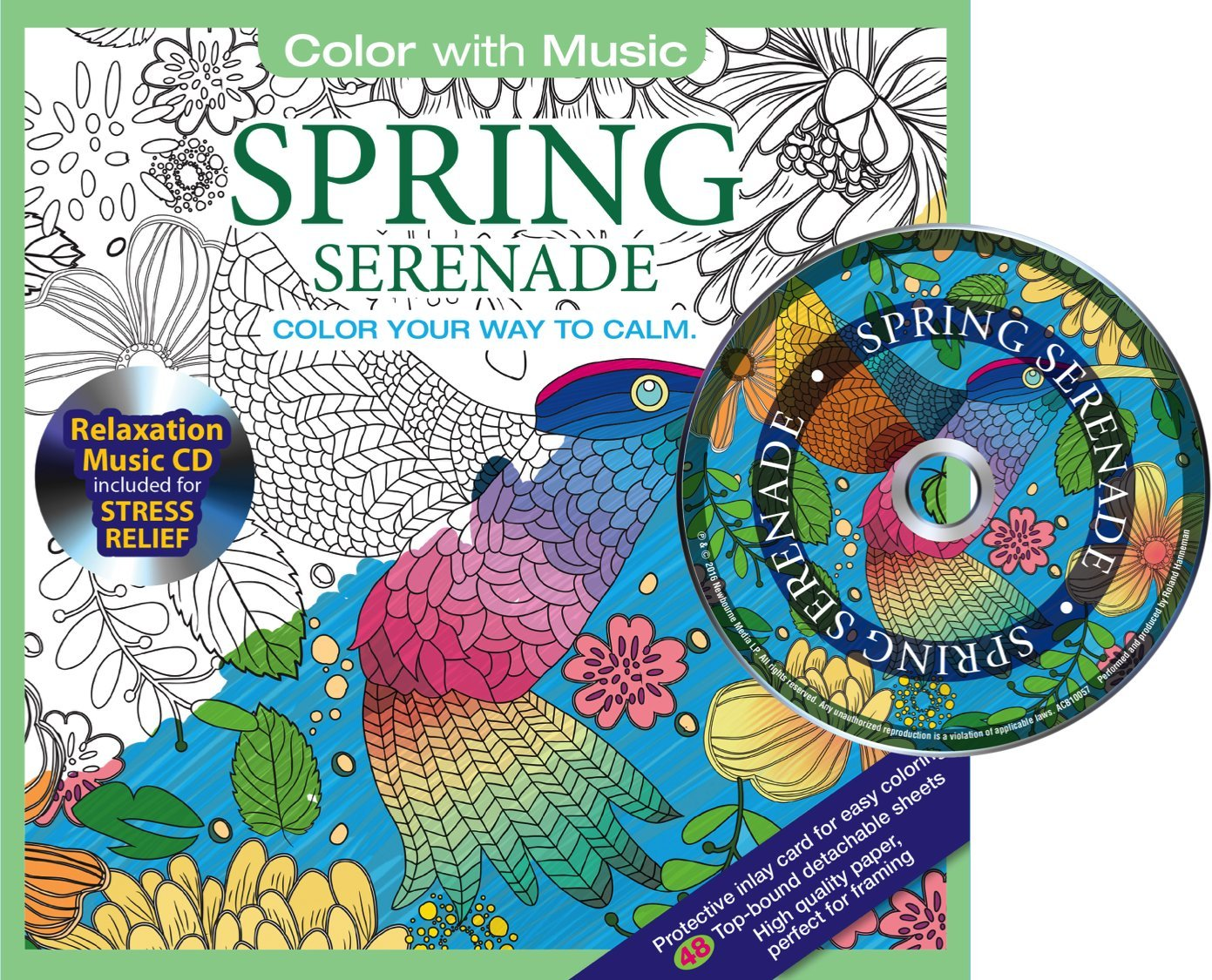 Download Spring Serenade Adult Coloring Book With Bonus Relaxation Music CD Included: Color With Music PDF