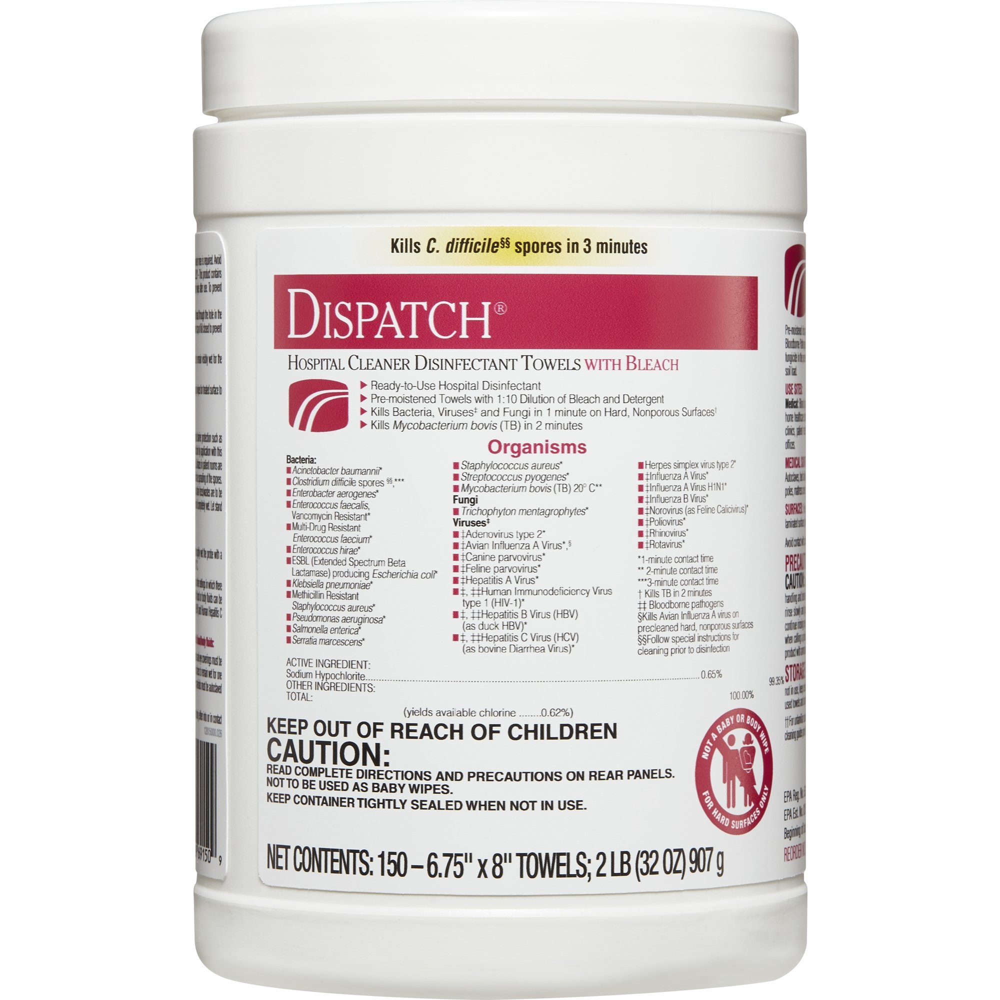 Dispatch Hospital Cleaner Disinfectant Towels with Bleach, 150 Count Canister, 8 Canisters/Case