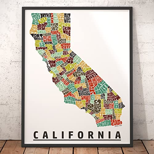 Amazoncom CALIFORNIA Map Art Print Unique California Decor