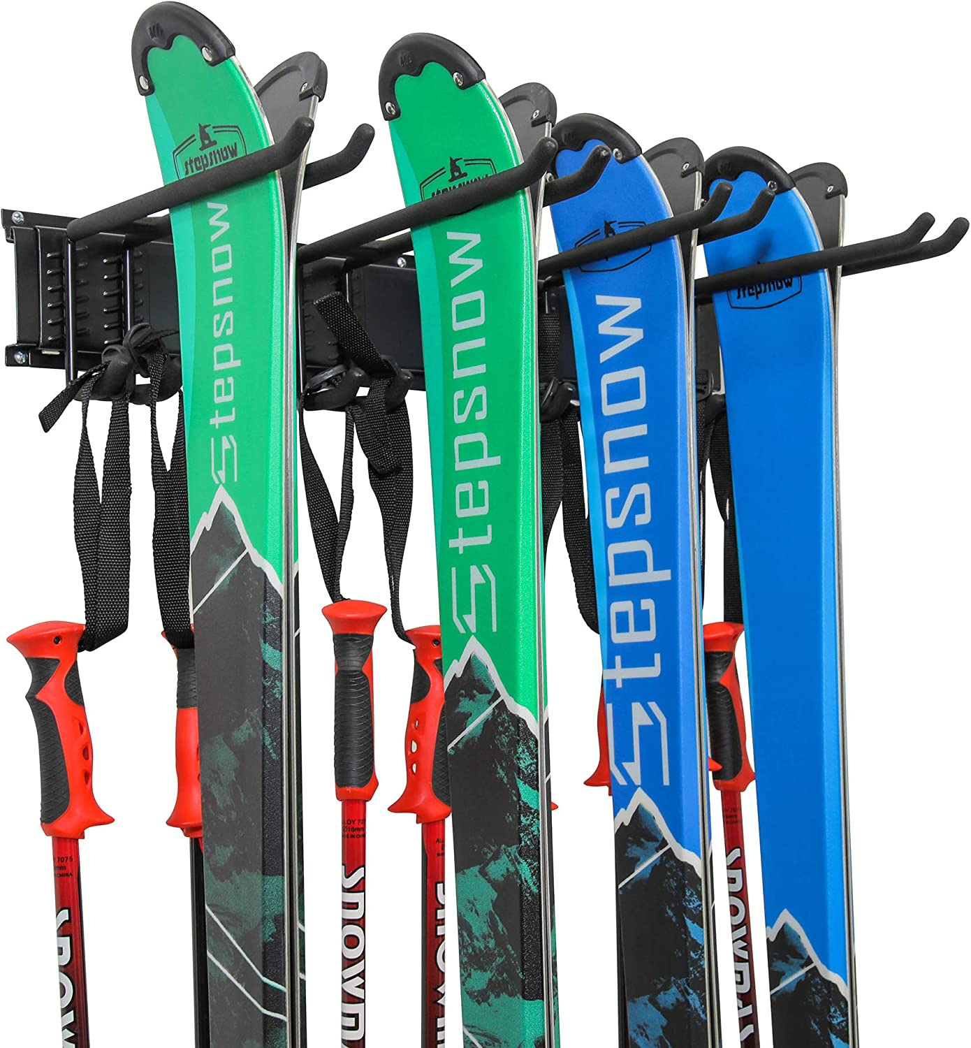 Ski Wall Rack, Holds 4 Pairs of Skis & Skiing Poles or Snowboard, for Home and Garage Storage, Wall Mounted, Heavy Duty, Adjustable Rubber-Coated Hooks