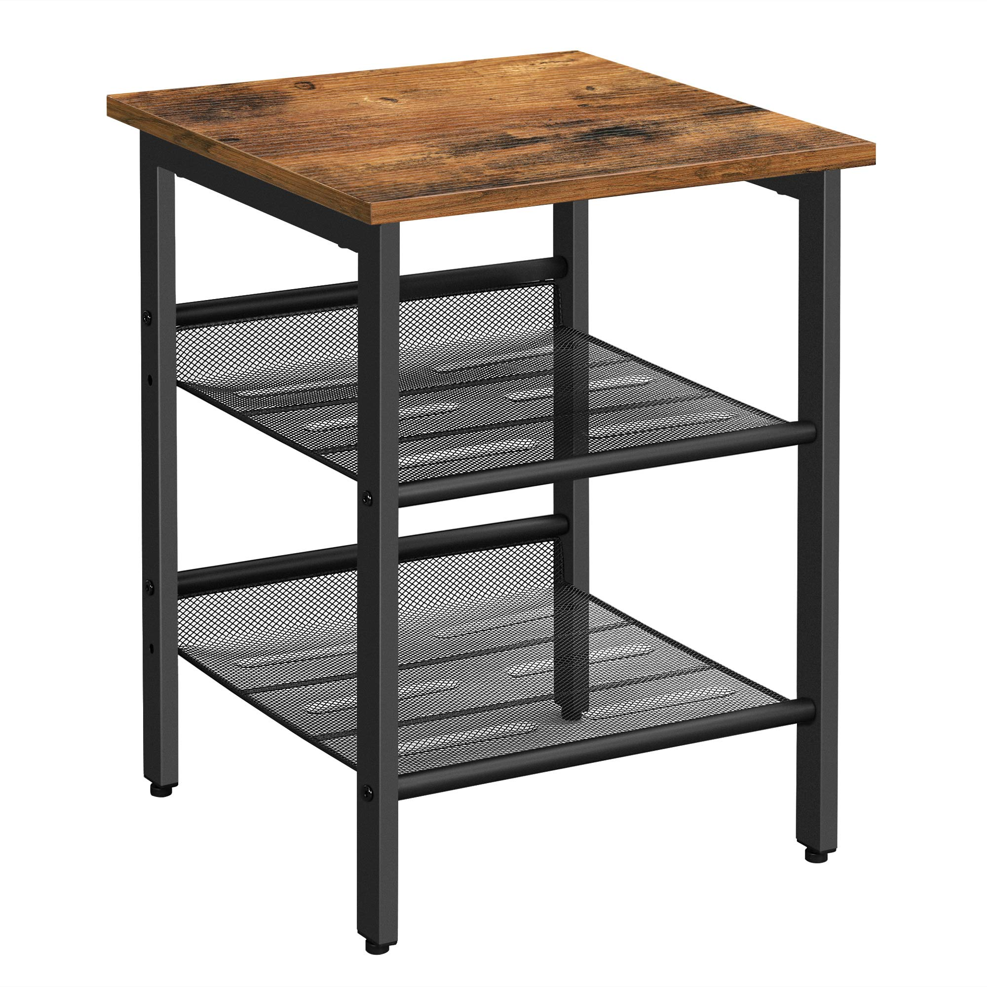 VASAGLE Side Table, Nightstand, End Table with 2 Adjustable Mesh Shelves, Easy Assembly, Industrial for Living Room, Bedroom, Stable Steel Frame, Rustic Brown and Black LET23X