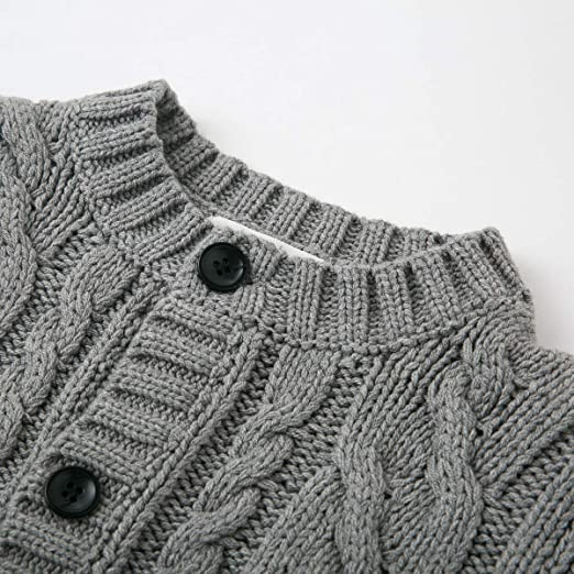 Curipeer Boy/'s Girl/'s Fall Cable Knit Cardigan Sweaters Button up Solid Coat Winter 3-11Years