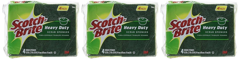 Pack of 4 Scotch-Brite Heavy Duty Scrub Sponge Total 12 Sponges 3-Count