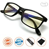 J+S Vision Reading Glasses with Anti Blue Light function, Crystal Clear Spring Hinged and Magnified iPad/tablet and Electronics Reading Glasses for Men and Woman (Power +1.50)