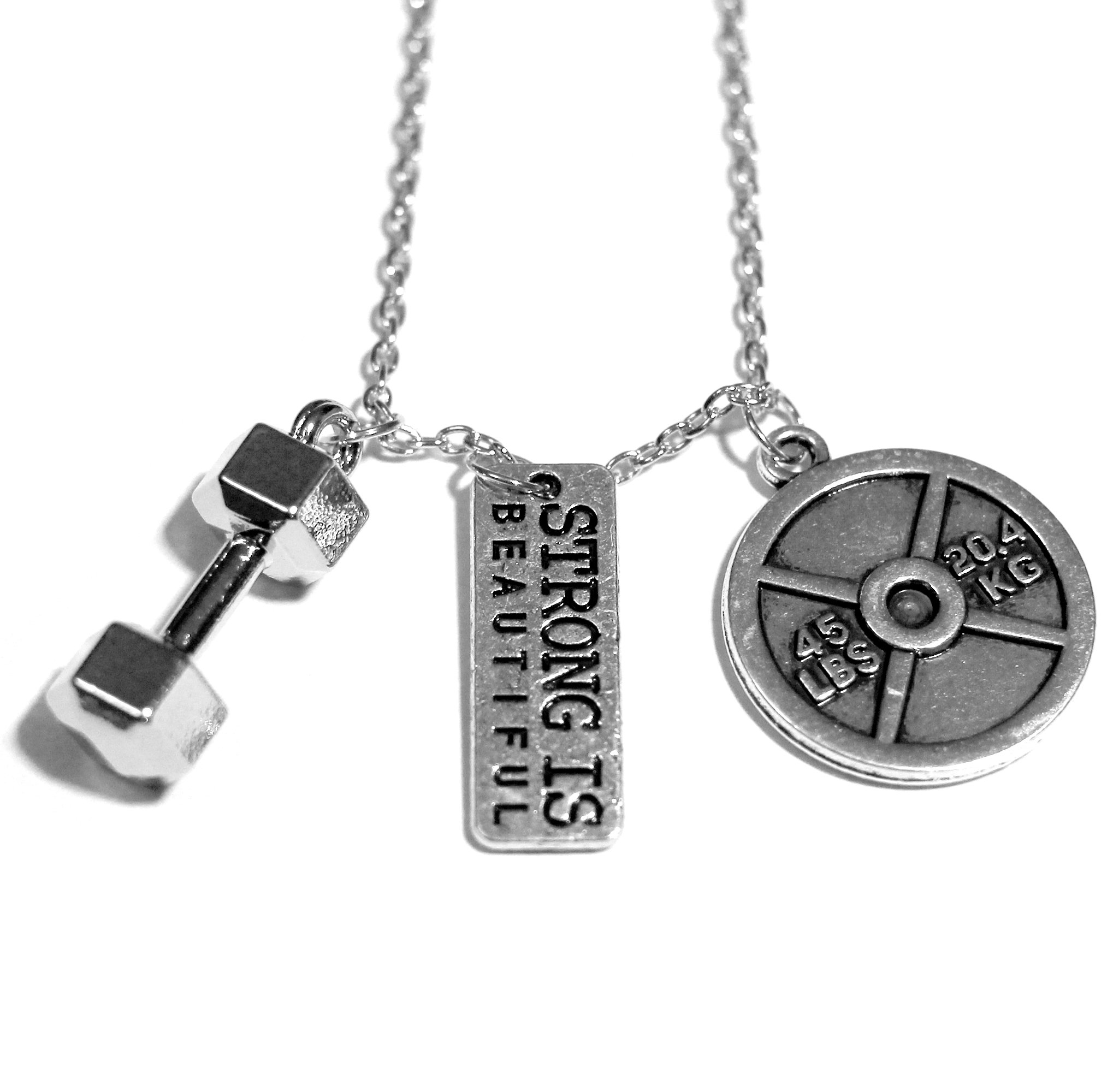 Santa Monica Charm Co. The Original Strong is Beautiful Necklace with Dumbbell and 45lb Plate Pendants