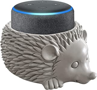 Dekodots Smart Speaker Table Stand (Hedgehog) - Decorative Holder for Amazon Echo Dot or Google Home Mini - Portable Design, No Sound or Microphone Interference - Durable Poly-Resin