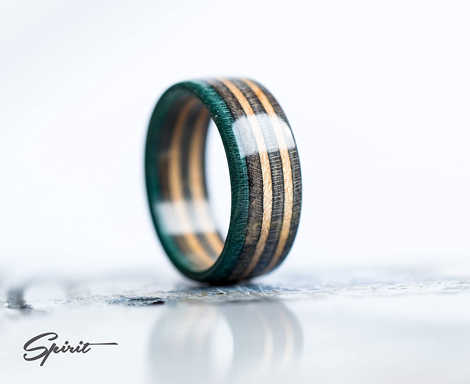 Recycled Skateboard Ring - Wooden ring - Wedding - Engagement - Wood ring - Gray - Brown - Turquoise - Skate Band - Maple - Green Ring