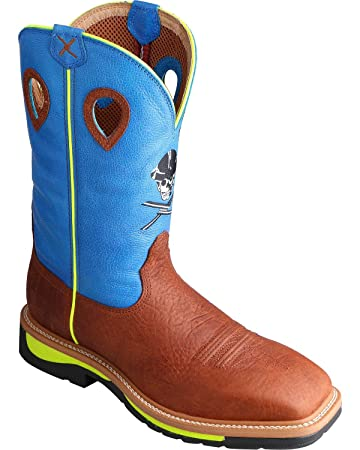 64e716f48b4 Twisted X Men's Neon Blue Lite Cowboy Work Boot Steel Toe