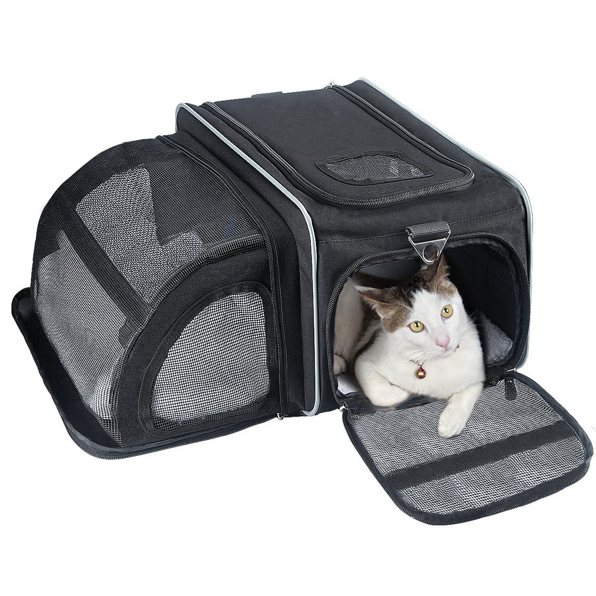 Cat Carrier, Fypo Soft Sided Airline Approved Pet Carriers Expandable Travel Foldable Cozy Bunny Crate with Removable Fleece Mat, Portable Handbag Kennel Travel Tote Zipper Lock Case for Airline Cabin