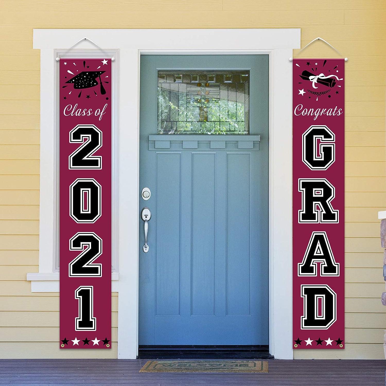 Graduation Decorations 2021 - Class of 2021 & Congrats Grad Banner for Front Door/Porch/Entrance Decor - Green Graduation Flags Banner for Indoor Outdoor Grad Ceremony
