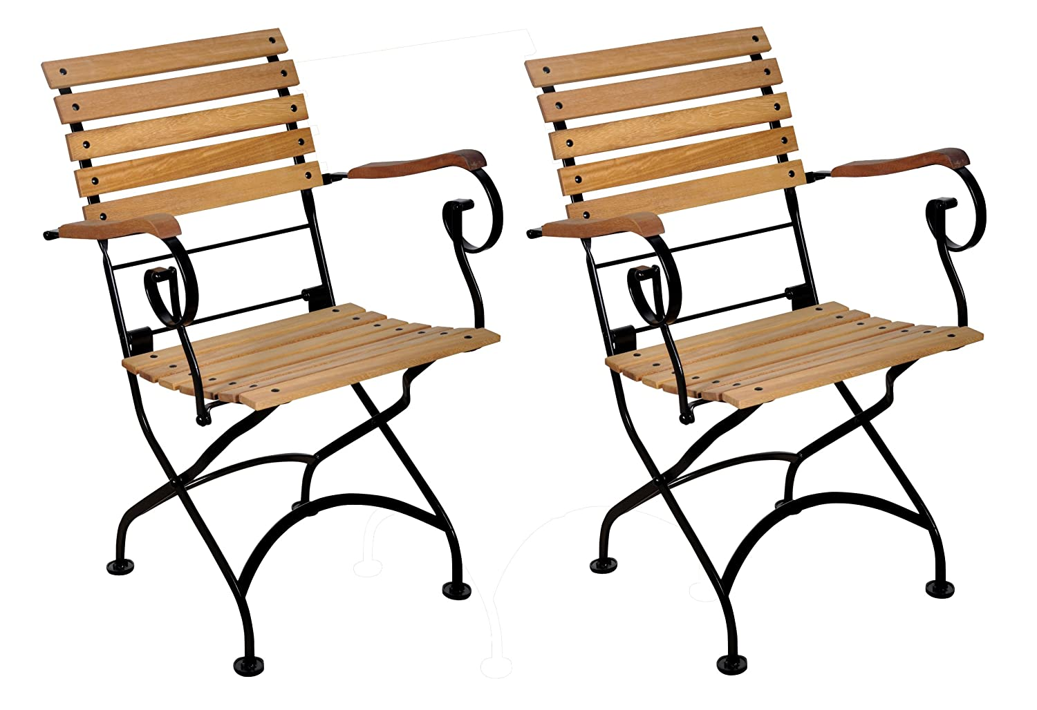 Amazon.com : Mobel Designhaus French Café Bistro Folding Armchair, Jet  Black Frame, African Teak Wood Slats (Pack Of 2) : Folding Chairs : Patio,  ...