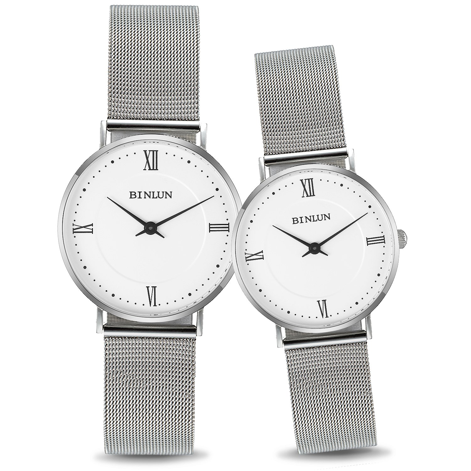 BINLUN His and Hers Quartz Watch Silver Stainless Steel Couple Waterproof Watches