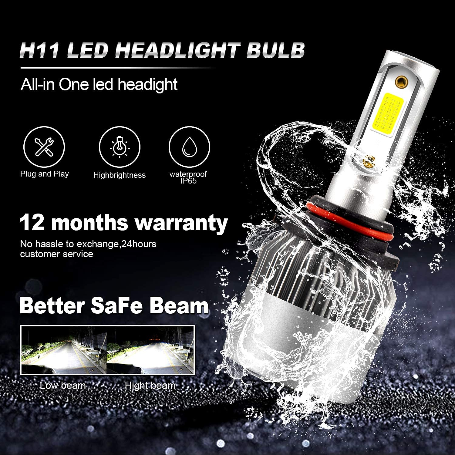 9005//HB3 High Beam 9006//HB4 Low Beam Combo LED Light Bulb Conversion Kit Xenon White 6500K SZFLWA X-S2 Series Headlight With Control Driver