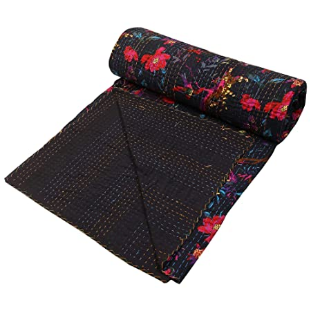 Indian Kantha Cotton Bed Cover Double Black Cotton Paisley Hand Stitched Blanket Bed Cover by Stylo Culture