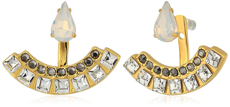 Rebecca Minkoff Multi Stone Front Back Earring in Metallic Gold 5P7F4k9Hr