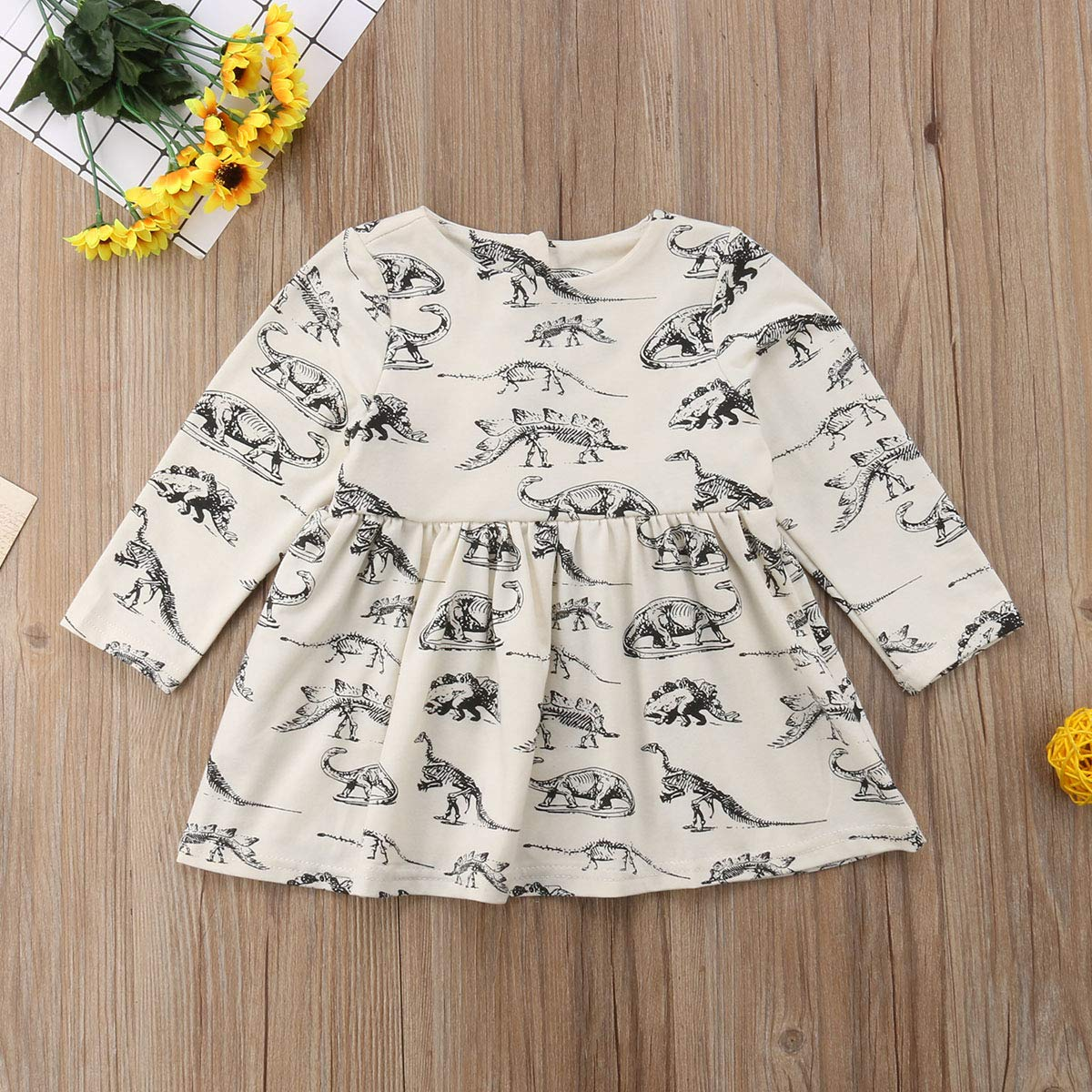 VISGOGO Infant Toddler Baby Girls Long Sleeve Dinosaur Dresses Outfits Clothes 0-3Y
