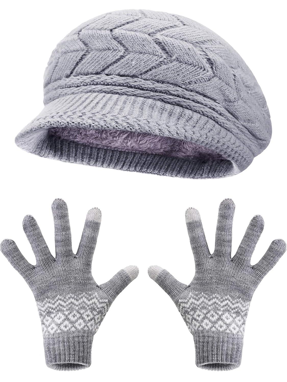 Pangda Inverno Berretto a Maglia Cappello Caldo Ciclo Sciarpa Scaldacollo Touchscreen Guanti Manopole Adatto per le Donne Favori