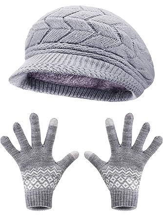 ca760040a51b3 Sombrero de Boina de Punto de Invierno Bufanda de Aro Caliente Calentador  de Cuello Guantes para
