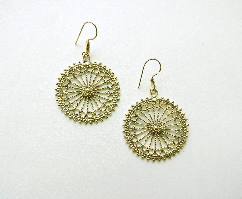 Amazon.com: Beautiful Sun Spoke Brass Earrings - Yoga ...