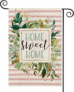 AVOIN Watercolor Stripes Home Sweet Home Garden Flag Double Sided, Spring Summer Plants Leaves Pink Yard Outdoor Decoration 12.5 x 18 Inch