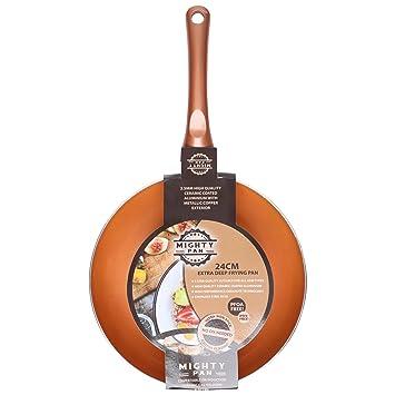 Juego de cazos y sartenes cerámicas antiadherentes con revestimiento de cobre, Frying Pan 24cm: Amazon.es: Hogar