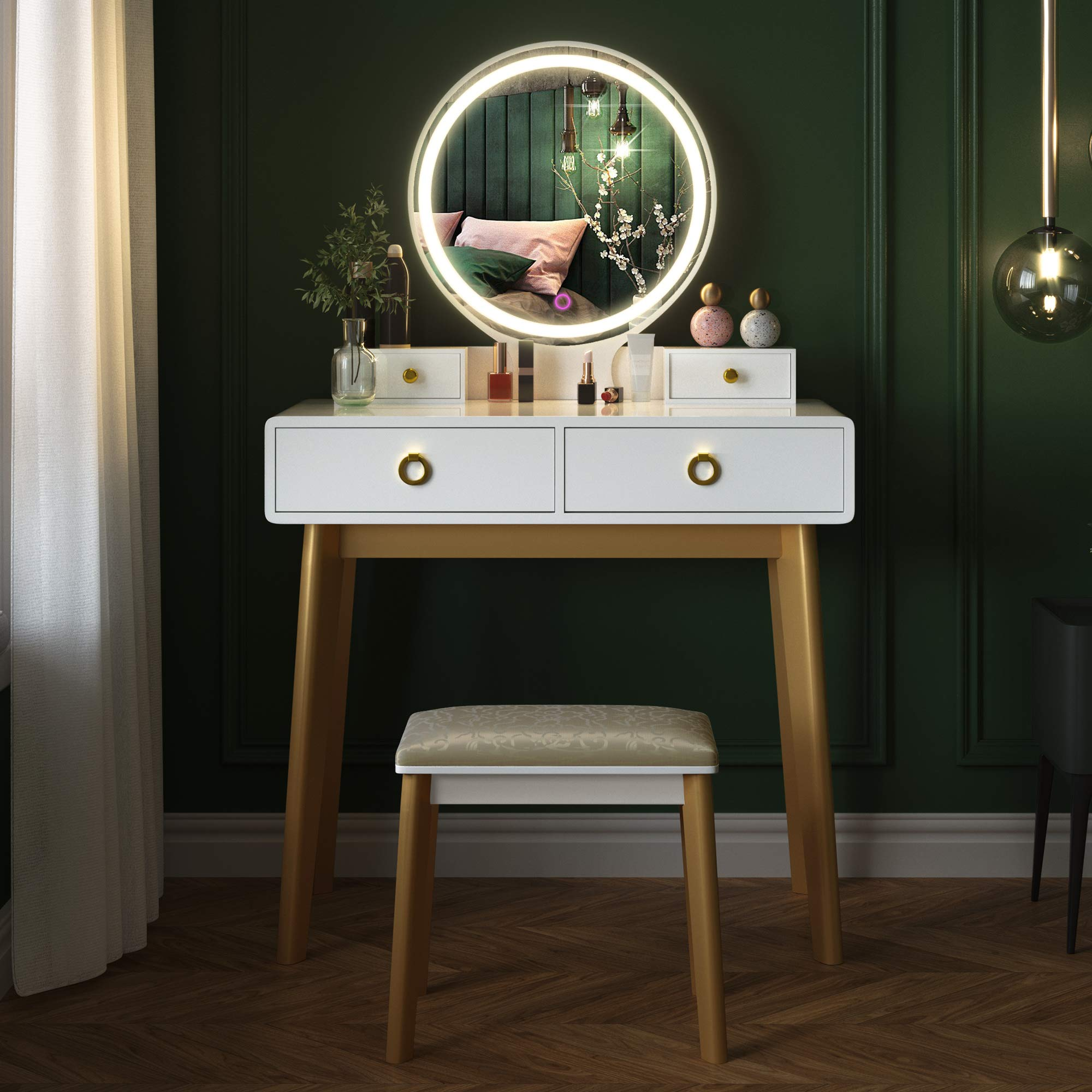 Vanity Table Set,Makeup Table with Oval Mirror & Stool, Bedroom Wood Dressing Table with 4 Storage Drawers White